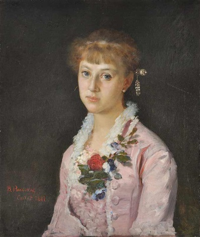 a portrait of a girl with a flower wearing a pink dress the painters sister by vlacho bukovac