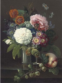 roses, marigolds, daisies, primroses and other summer blooms in a glass by a peach and a sprig of gooseberries by johan carl smirsch
