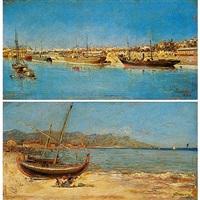 barcos en un puerto (+ jóvenes en la playa de barcelona; pair) by francisco cabanzón hernández