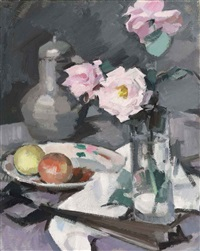 still life with roses, apples and coffee pot by samuel john peploe
