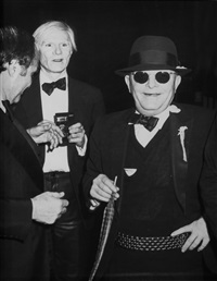 andy warhol, truman capote and lester persky attend steve rubell's birthday party at studio 54,, new york, december 2 by ron galella