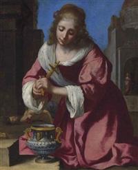 saint praxedis by johannes (van delft) vermeer