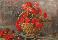 basket with wild carnation by adela jean