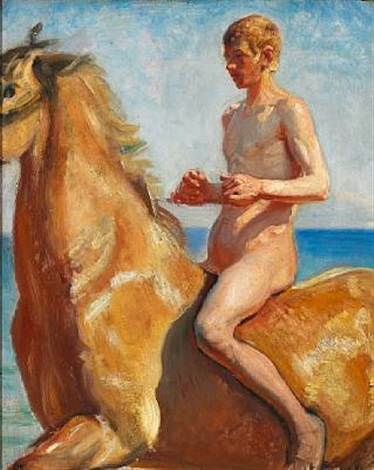 naked boy on horseback on the beach by michael peter ancher