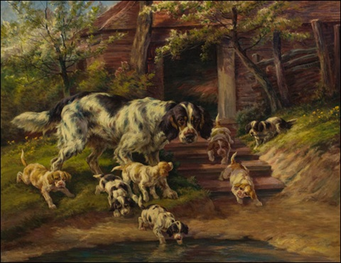 setter with pups by edmund henry osthaus