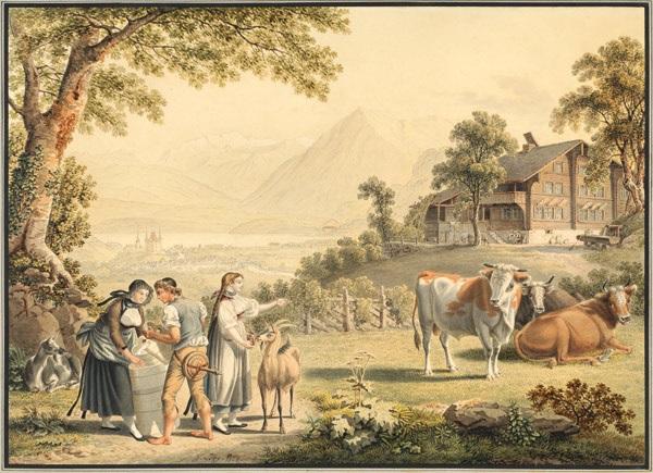 bauernhaus mit reicher staffage mit blick auf thun und den niesen by gabriel ludwig lory