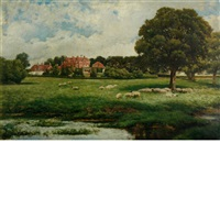 sheep in the pasture, said to be new house park, st. albans by james dromgole linton