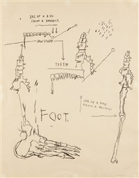 leg of a dog (from da vinci) by jean-michel basquiat