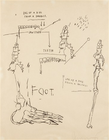 leg of a dog from da vinci by jean michel basquiat