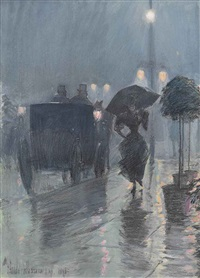 evening in the rain by childe hassam