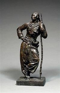 guerrier meo s'appuyant sur sa lance by evariste jonchère