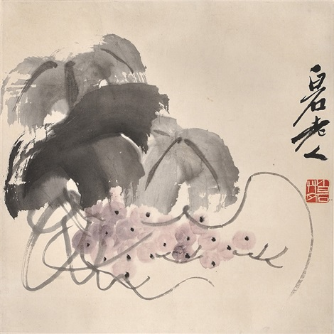 葡萄图 grapes by qi baishi