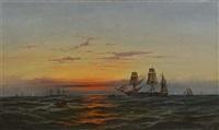 sunset at sea by james hamilton