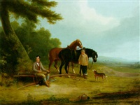 robert burns seated on a plough, with a boy and two carthorses by joseph rhodes