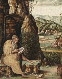 a hermit saint reading in a mountainous landscape by jacopo da valenza