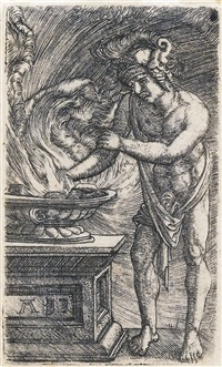 judith with the head of holofernes (+ mucius scaevola, pyramus and thisbe , little standard bearer; 4 works) by albrecht altdorfer