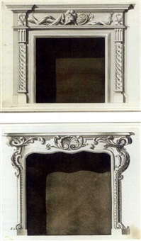 designs for chimney-pieces (+ another similar; 2 works after b. & t. langley) by sanderson miller