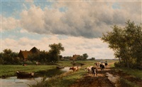 landscape by the zomervaart canal near haarlem by willem vester