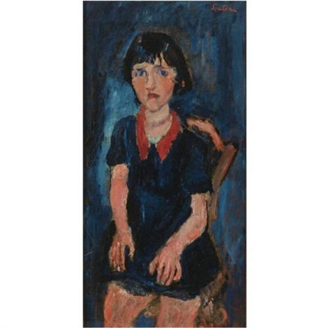 la fillette en robe bleue au col rouge by chaïm soutine