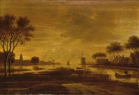a river landscape with a village and a windmill, a boat with fishermen to the foreground by rafael govaertsz camphuysen