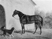 a carriage horse and spaniel before stables by james loder of bath
