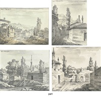 a lane with a view of mountains (+ 3 other views of bakhchiserai in the crimea; 4 works, some smaller) by giacomo quarenghi