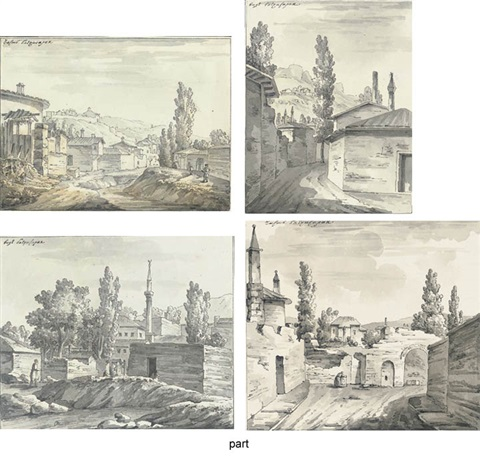 a lane with a view of mountains 3 other views of bakhchiserai in the crimea 4 works some smaller by giacomo quarenghi