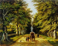 woodgatherers on a country road by frans arnold breuhaus de groot