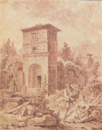 couple de paysans dans un paysage de ruines romaines by jacques françois amand