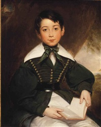 portrait of a young boy, seated, three-quarter-length, in a green jacket and cravat by william edward frost