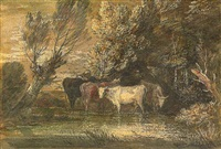 a wooded landscape with cattle at a watering place by thomas gainsborough