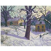 cottage under snow, sweden by william ratcliffe