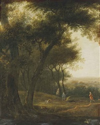 a wooded landscape with a hunting party by joris van der haagen