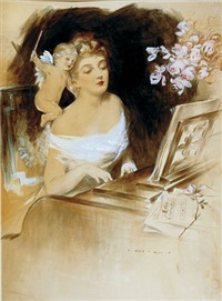 beautiful woman and cupid at the piano by henry hutt