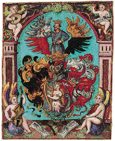 A coat-of-arms, surrounded by music-making putti by German