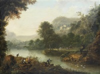 an extensive river landscape with figures resting on the banks and others fishing by johann (jan) christian vollerdt