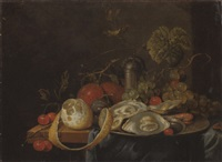 oysters and a prawn on a pewter plate, a partly peeled lemon,plums, grapes and cherries on a partly draped table by guilliam van deynum