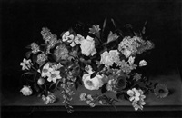 floral still life on a ledge by pierre langlade