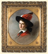 portrait of a lady in a hat by carl langhorst
