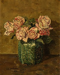roses in a ginger jar by jan adam zandleven