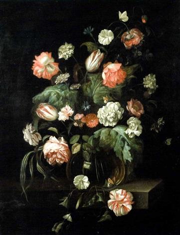 Bouquet de fleurs dans un vase en verre sur un entablement by Rachel Ruysch on artnet