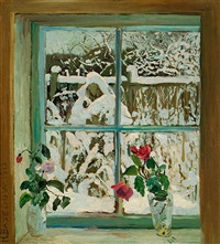 winter vor dem fenster by heinrich basedow
