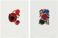 four red circles/ blue, red and green circles and small circles (set of 2) by atsuko tanaka