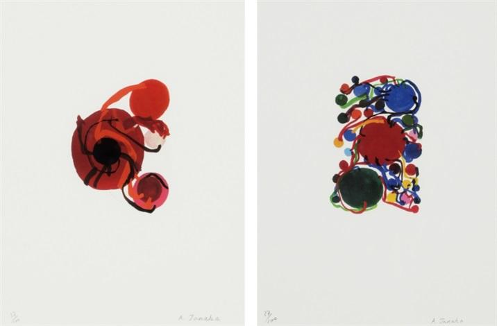 four red circles/ blue, red and green circles and small circles (set of 2) by atsuko tanaka