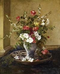 vase de fleurs sur entablement by jules félix ragot