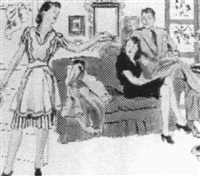 couple seated on couch, other woman standing near kitchen by gilbert bundy