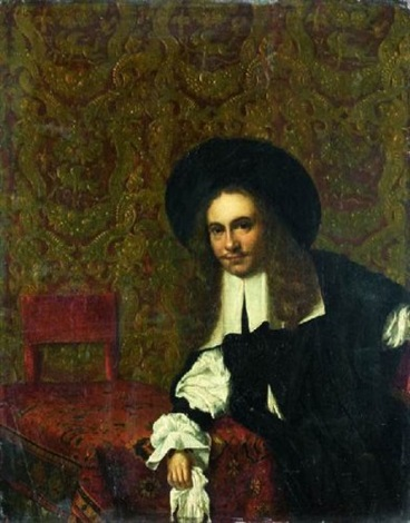 portrait de gentilhomme accoudé à une table recouverte dun tapis by eglon hendrik van der neer