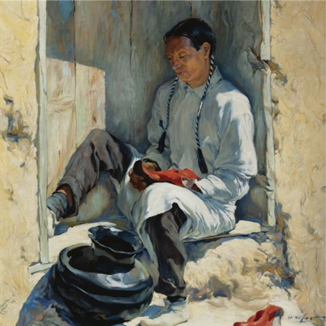 the red moccasins by walter ufer