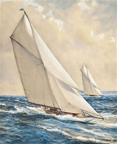 in the leaders wake big cutters racing in the solent by montague dawson