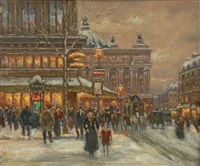 paris street scene at evening by edward cortes